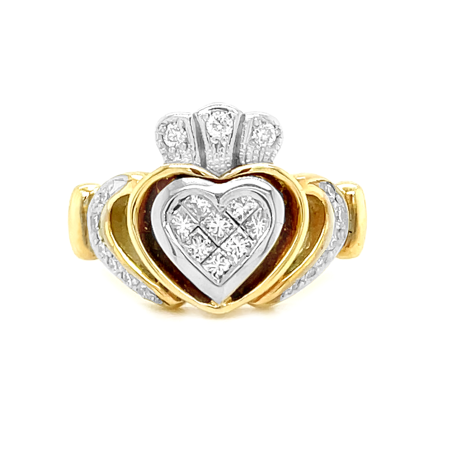 Gold Claddagh, Princess Cut Diamond