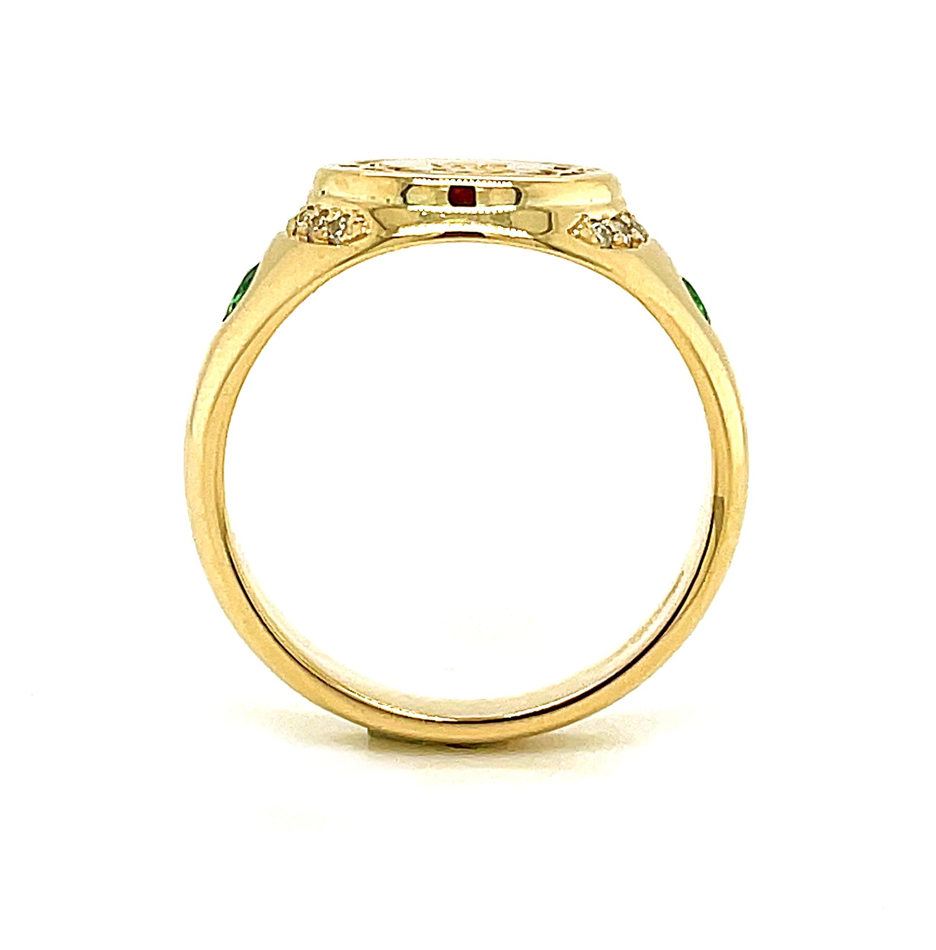 Yellow Gold Emerald & Diamond Claddagh Seal Ring
