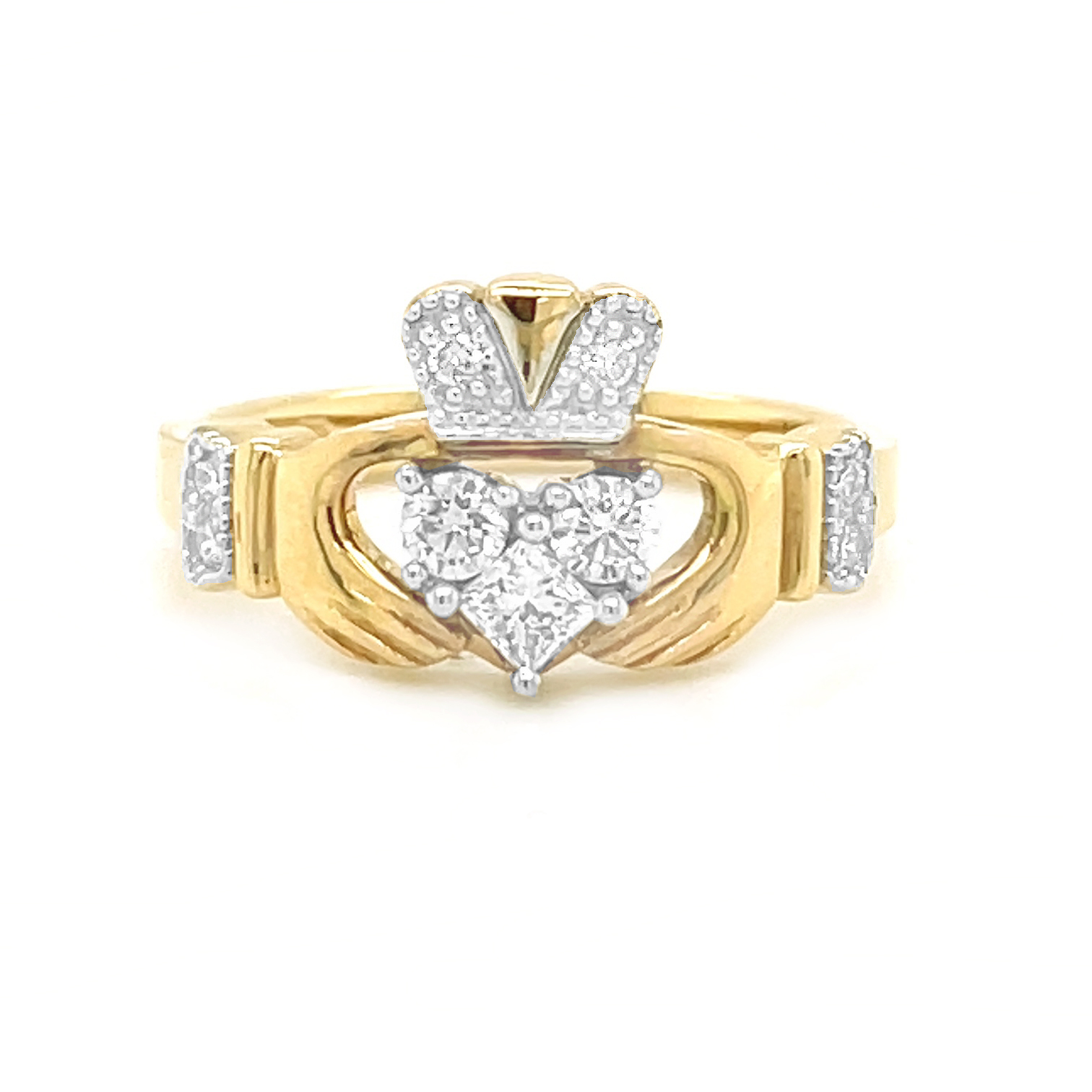 3 Stone, Gold Claddagh Ring