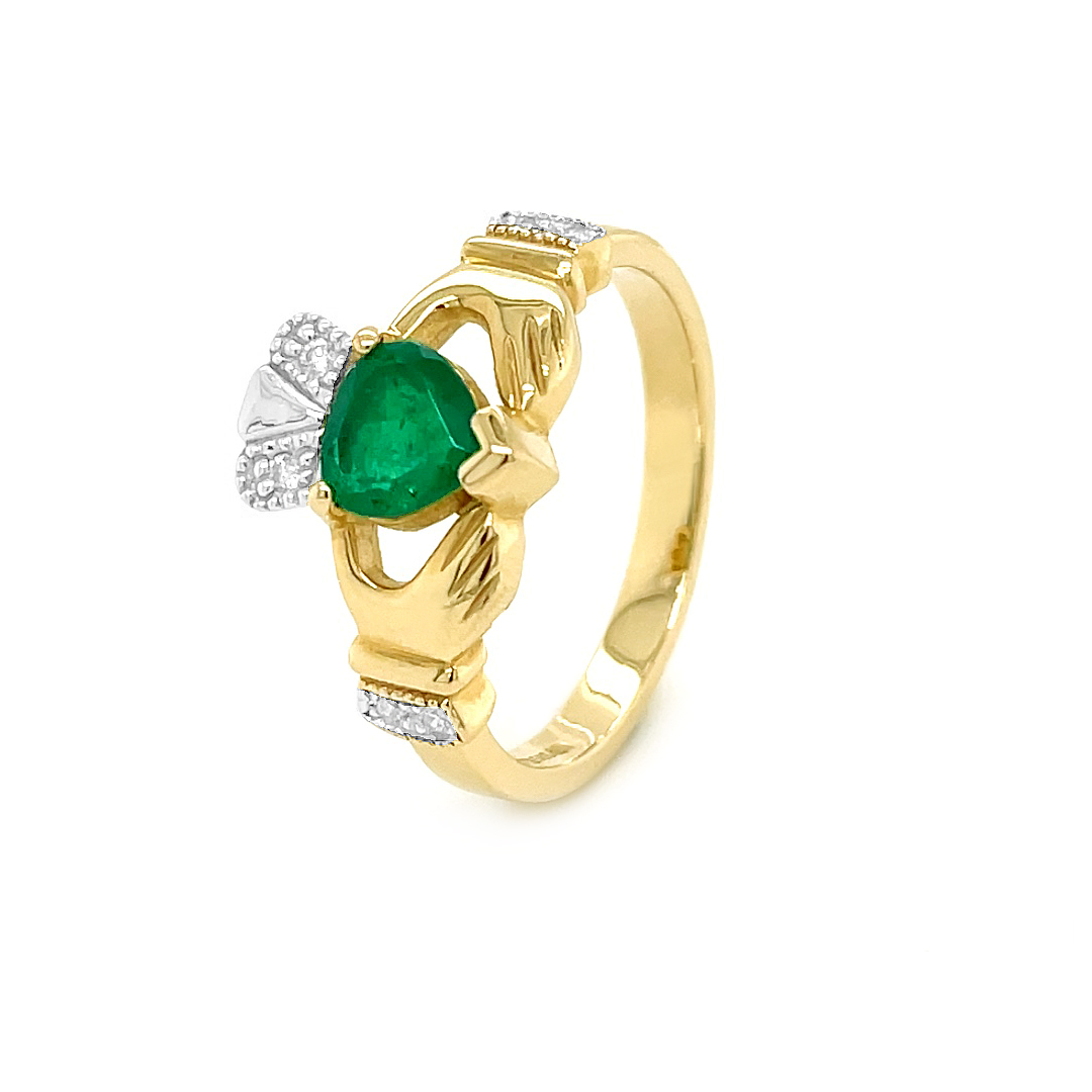 Claddagh Engagement Ring With Heartshape Emerald And Diamonds