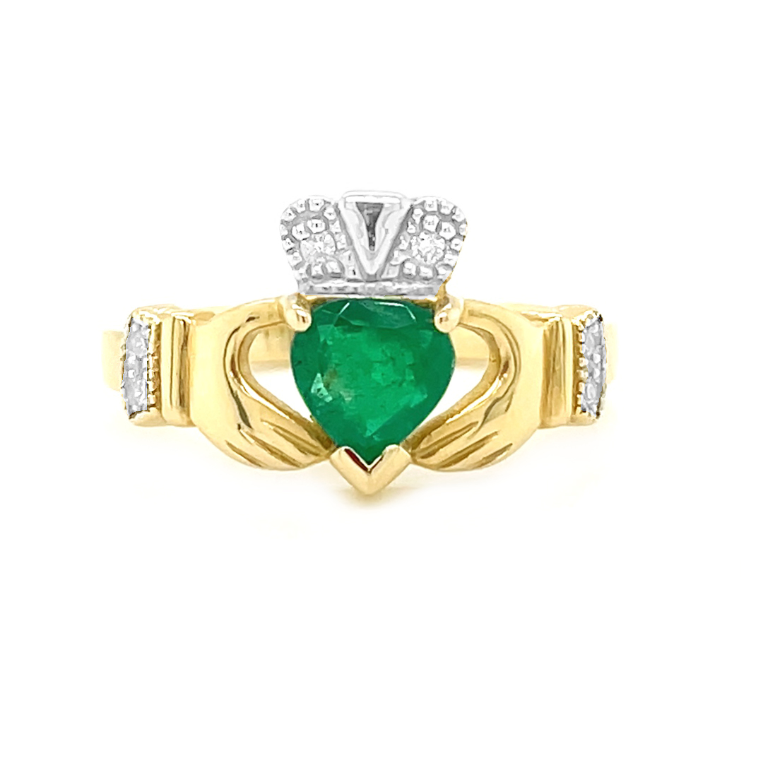 Yellow Gold Heartshape 0.75cts Emerald & Diamond Claddagh Engagement Ring