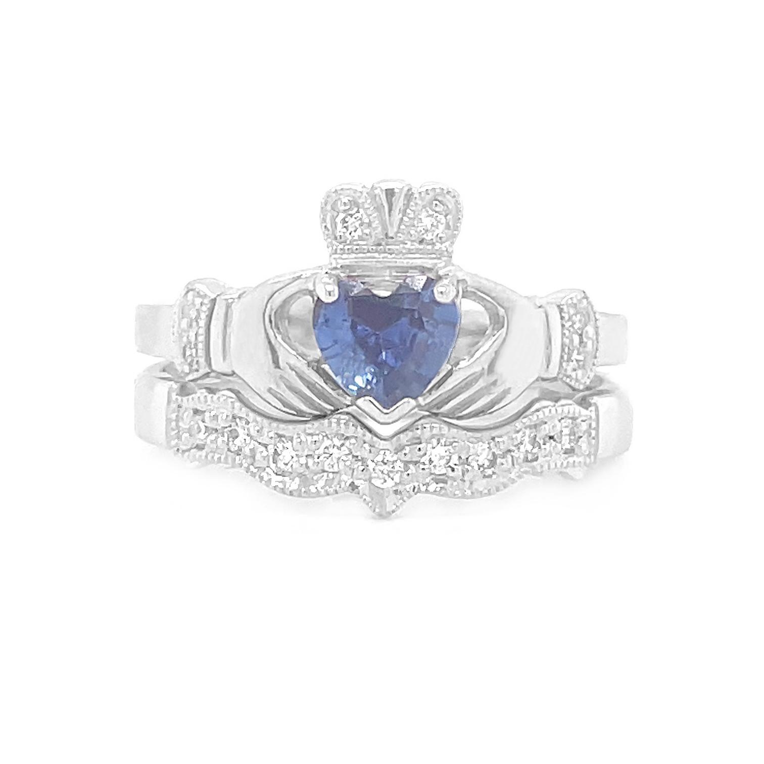 Sapphire Birthstone Claddagh Ring Set