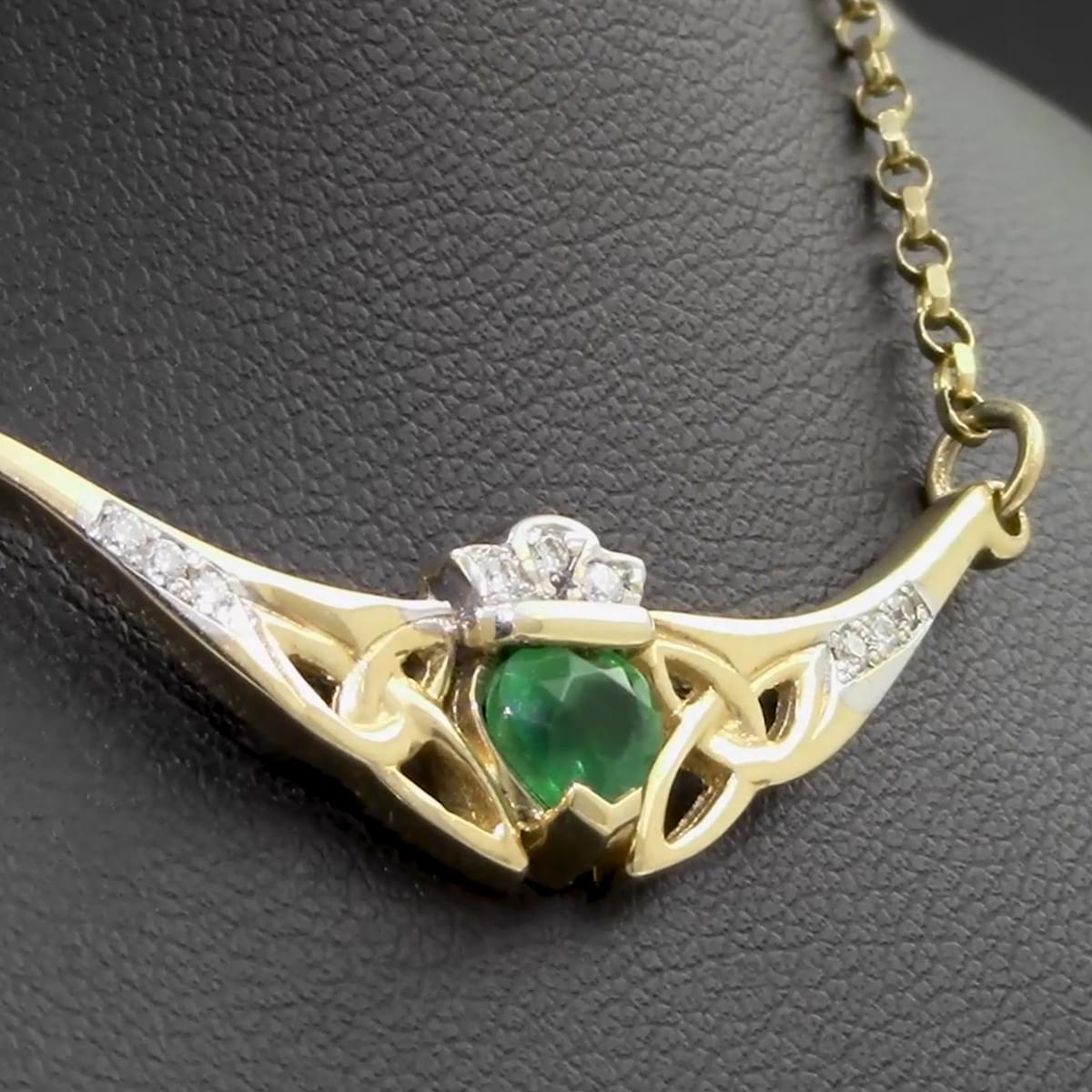 Gold Heart Emerald & Diamond Claddagh Necklace