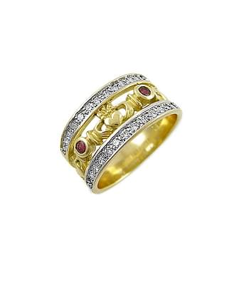 Gold Ring, Ruby & Diamond Claddagh Band Ring