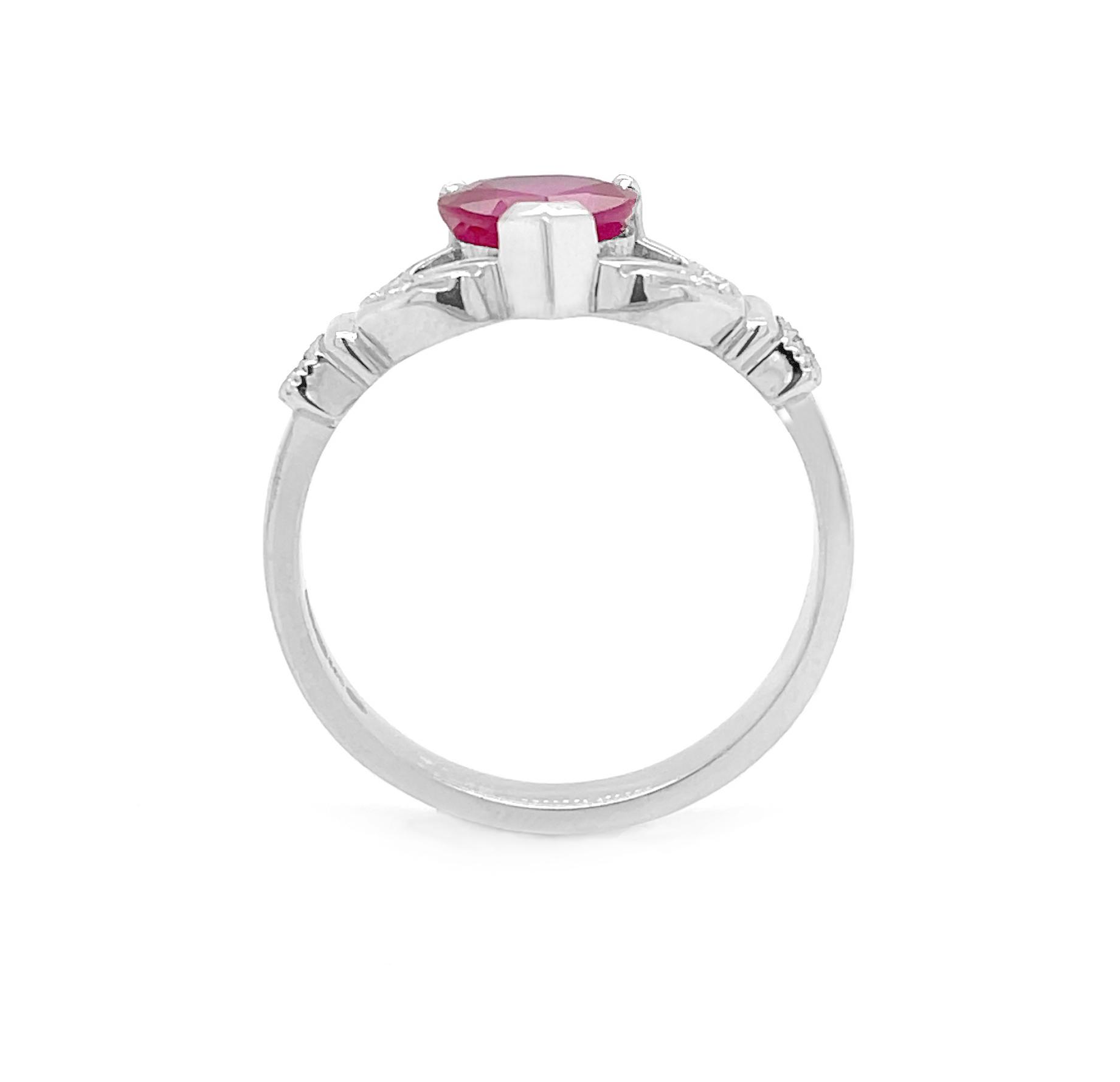 Ruby Claddagh Ring, 1.56 Carat