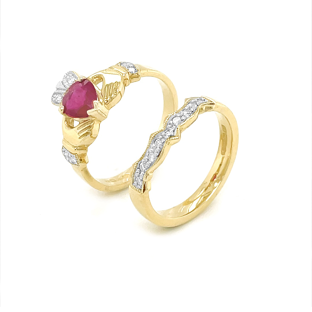 Ruby And Diamond Claddagh Ring Set In Gold