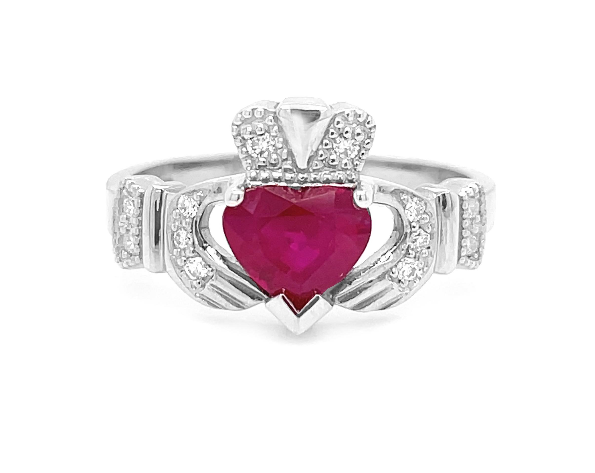 1.56 Carat Ruby Claddagh Ring