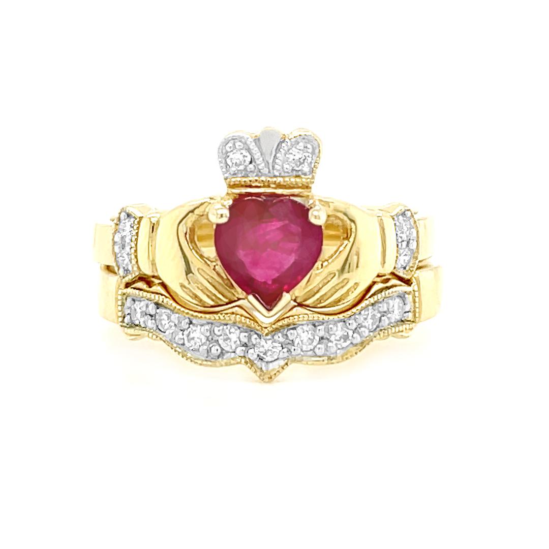 Diamond, Ruby Claddagh Engagement Ring Set