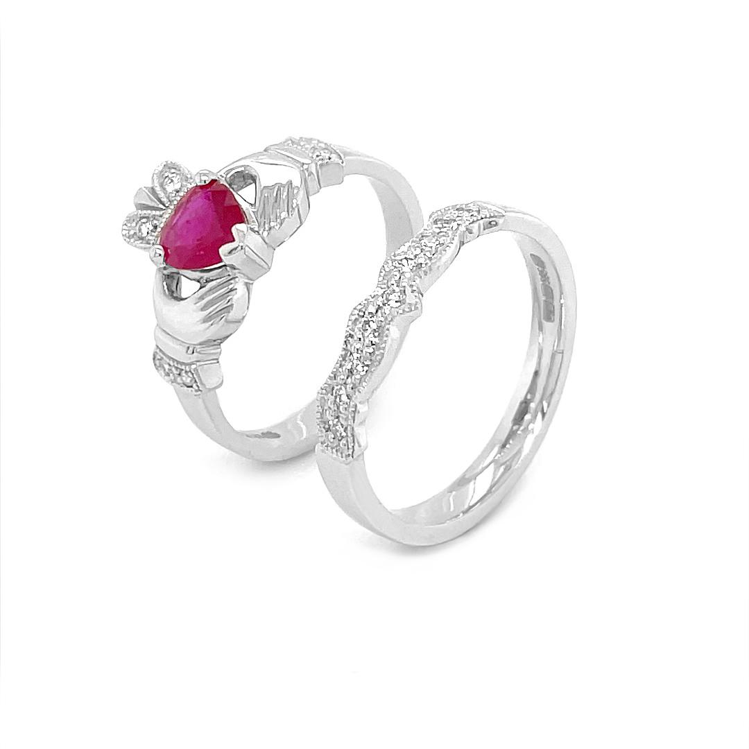 Ruby & Diamond White Gold Claddagh Ring Set