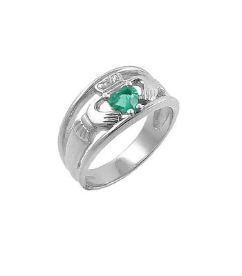 Gold Heartshape Emerald. Diamond Claddagh Wide Ring