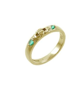 White Gold 2 Stone Emerald Claddagh Wedding Ring