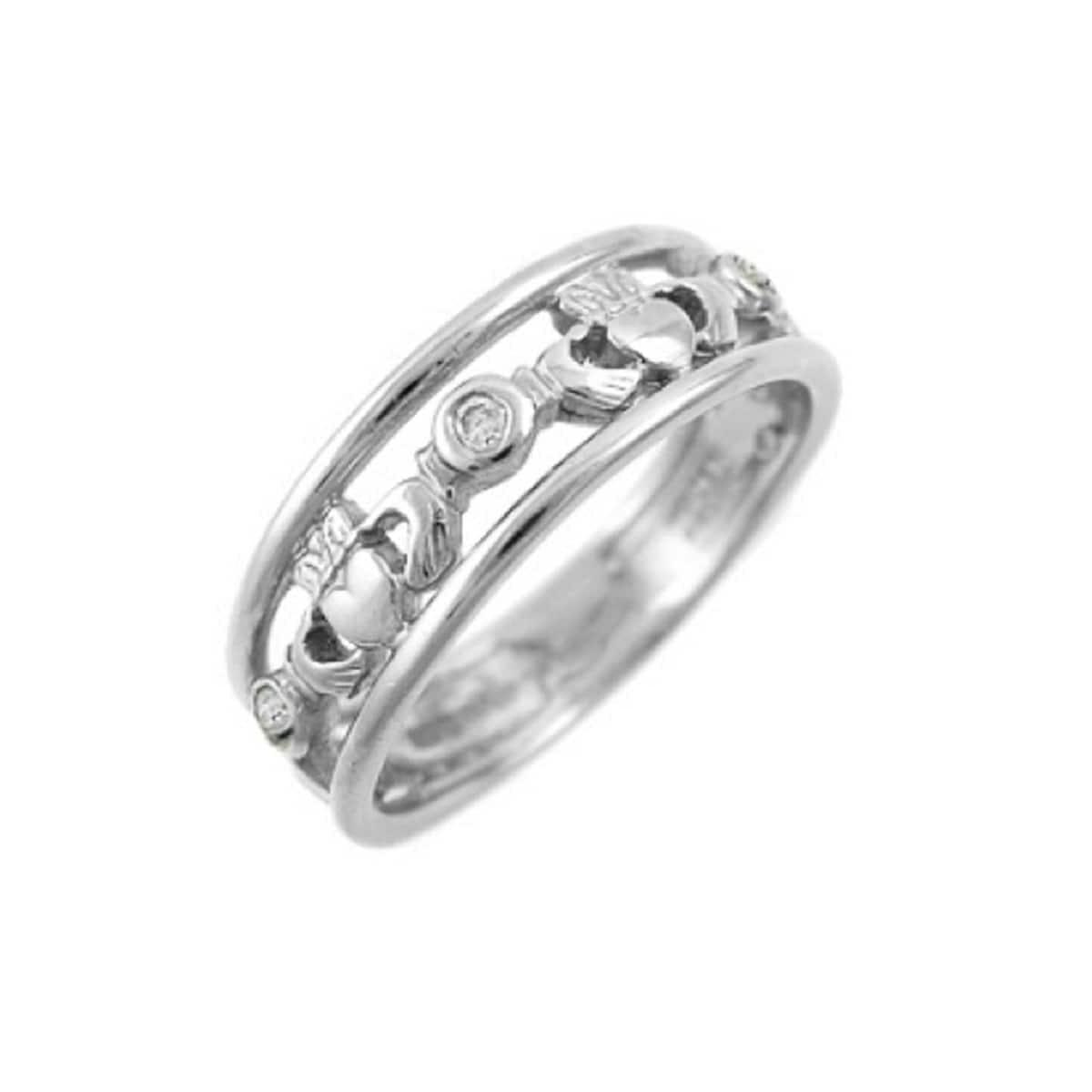 14k White Gold 3 Stone Diamond Claddagh Ring
