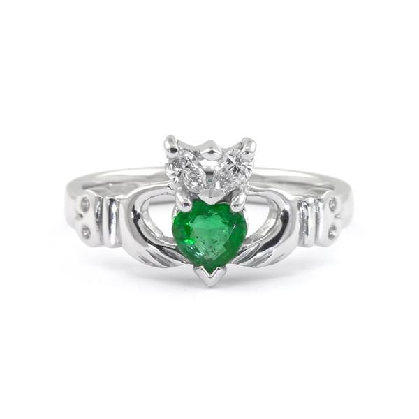 Emerald & Diamond Claddagh
