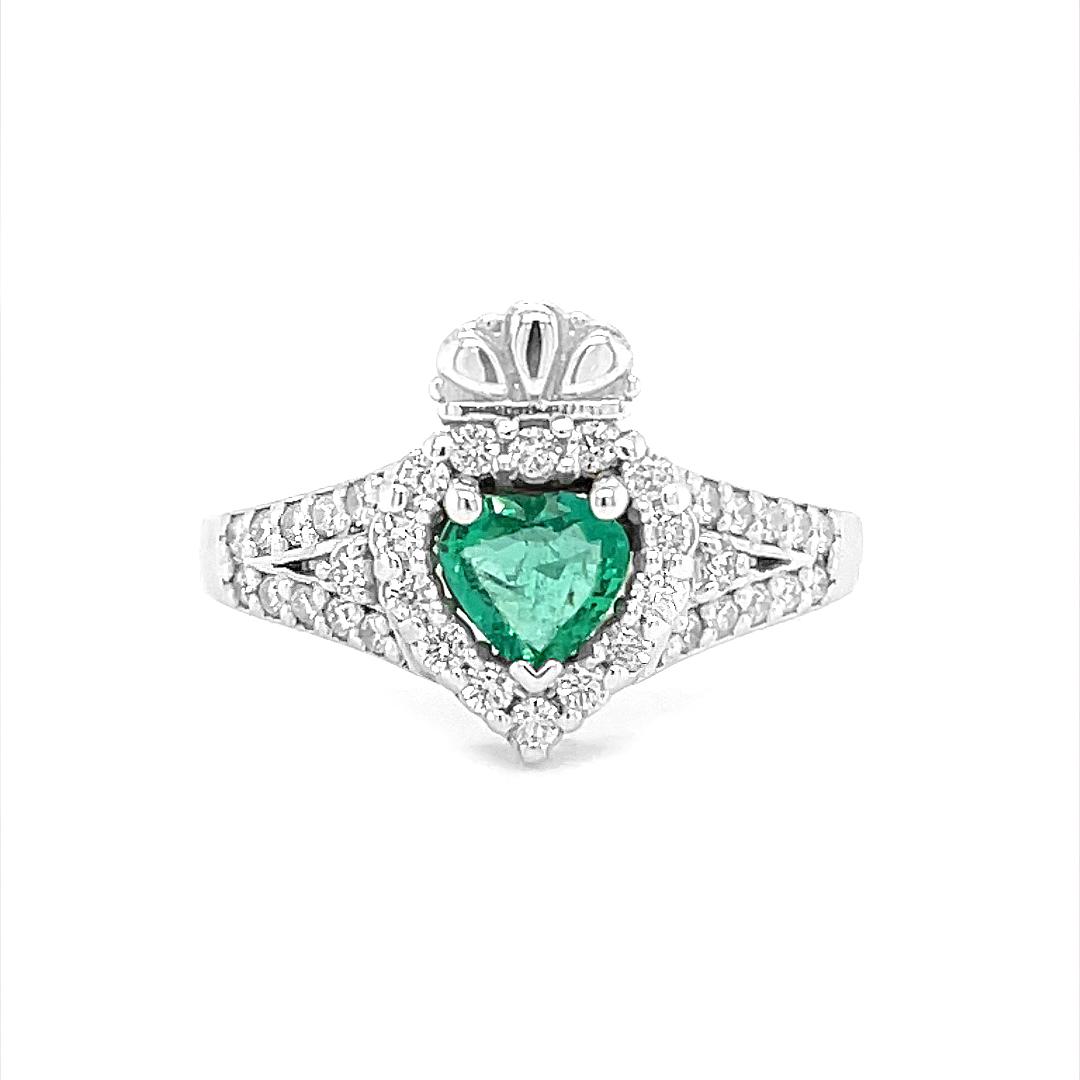 Diamond Encrusted, White Gold, Heartshape Emerald Claddagh Engagement Ring