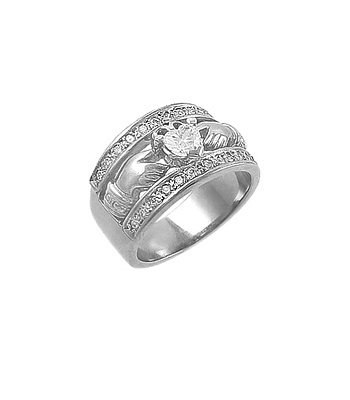 White Gold Claddagh Wide Ring