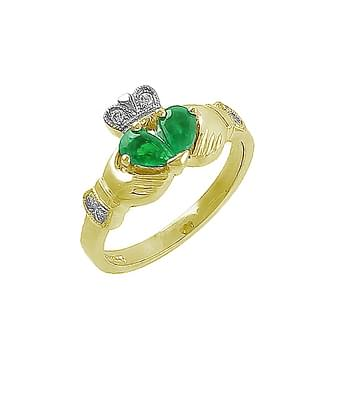Split Heart Emerald And Gold Claddagh Ring