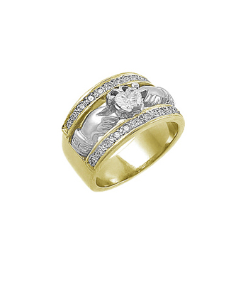 Yellow & White, Gold Claddagh, Wide Ring