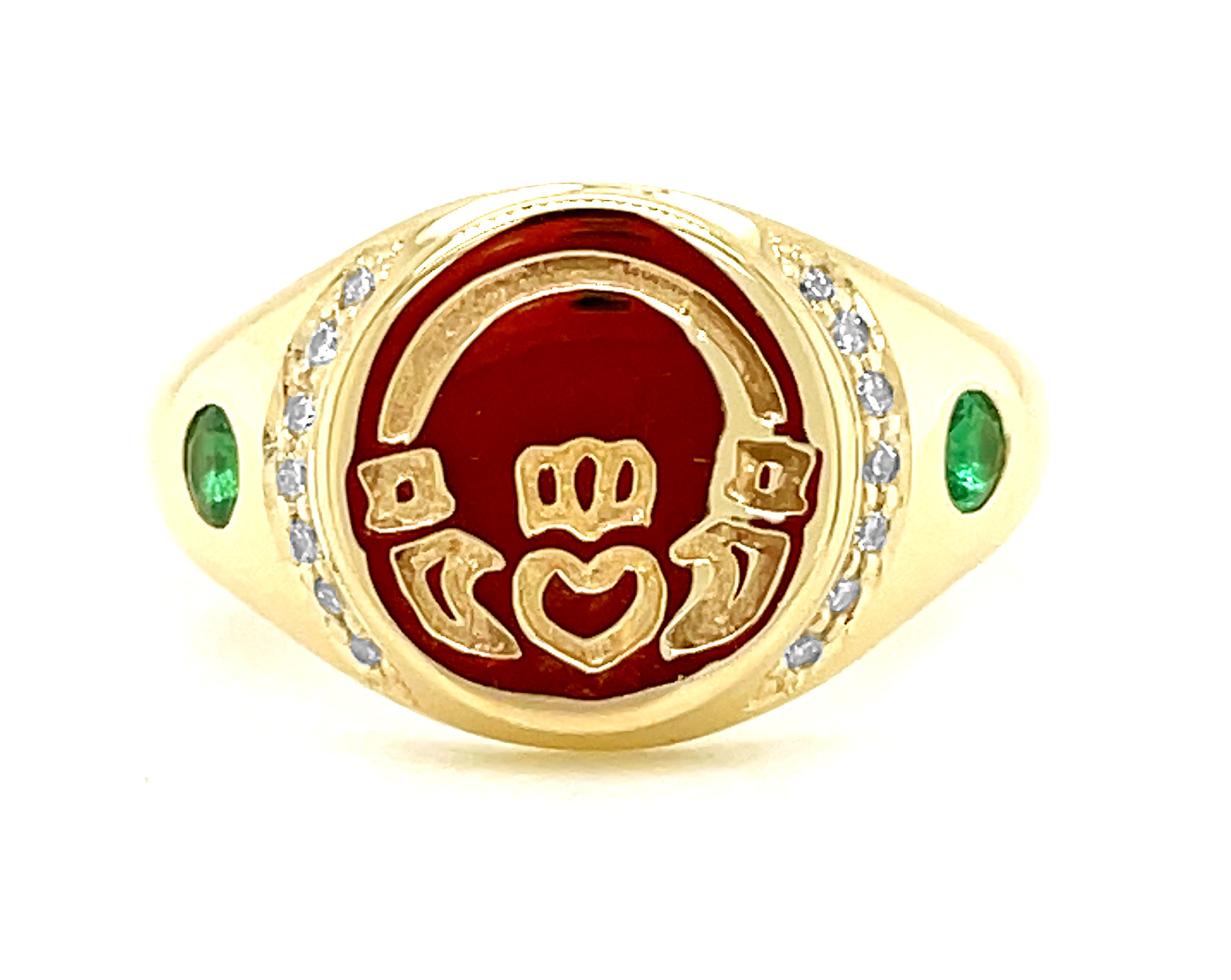 10k Yellow Gold Emerald & Diamond Claddagh Seal Ring
